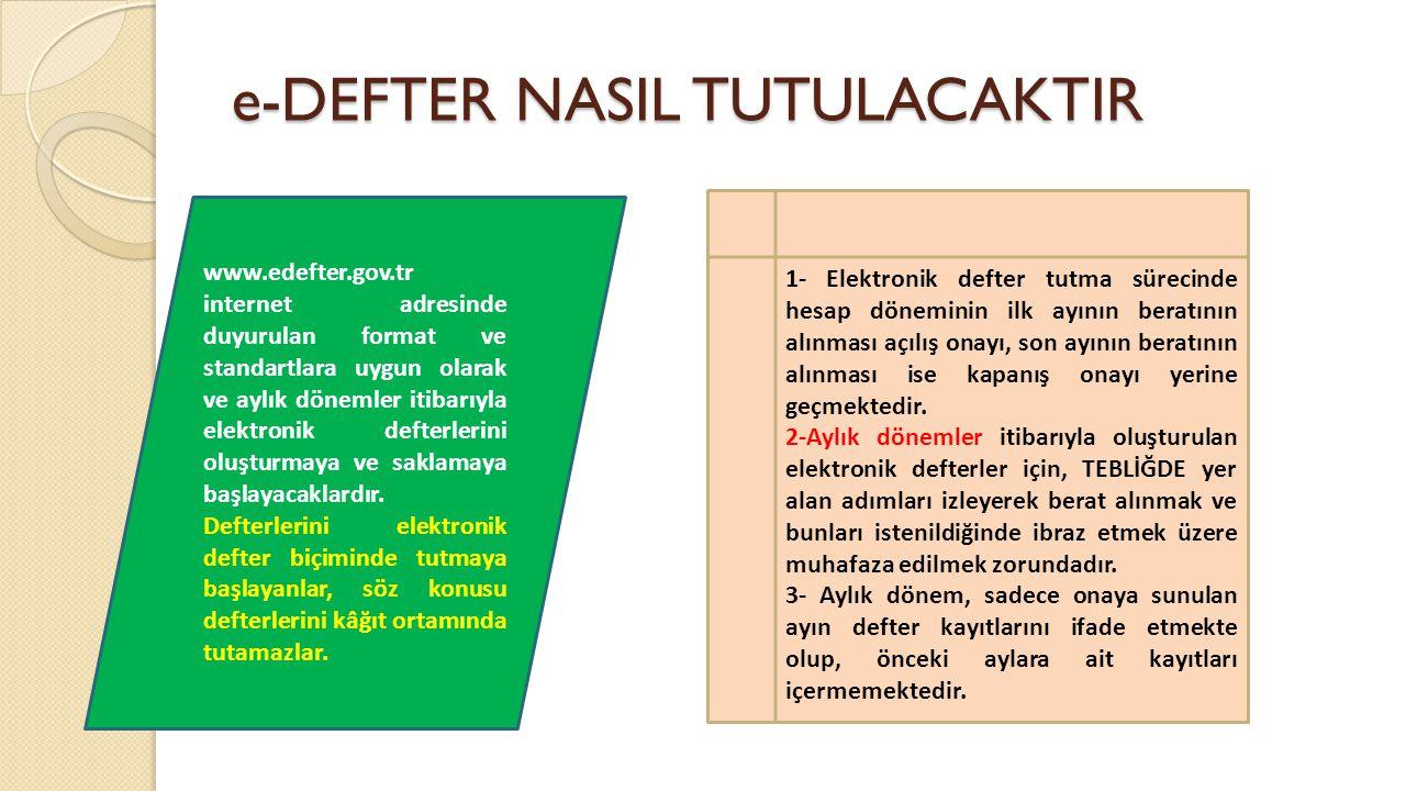 e-DEFTER NASIL TUTULACAKTIR www.edefter.gov.tr internet adresinde duyurulan format ve standartlara uygun olarak ve aylık dönemler itibarıyla elektroni