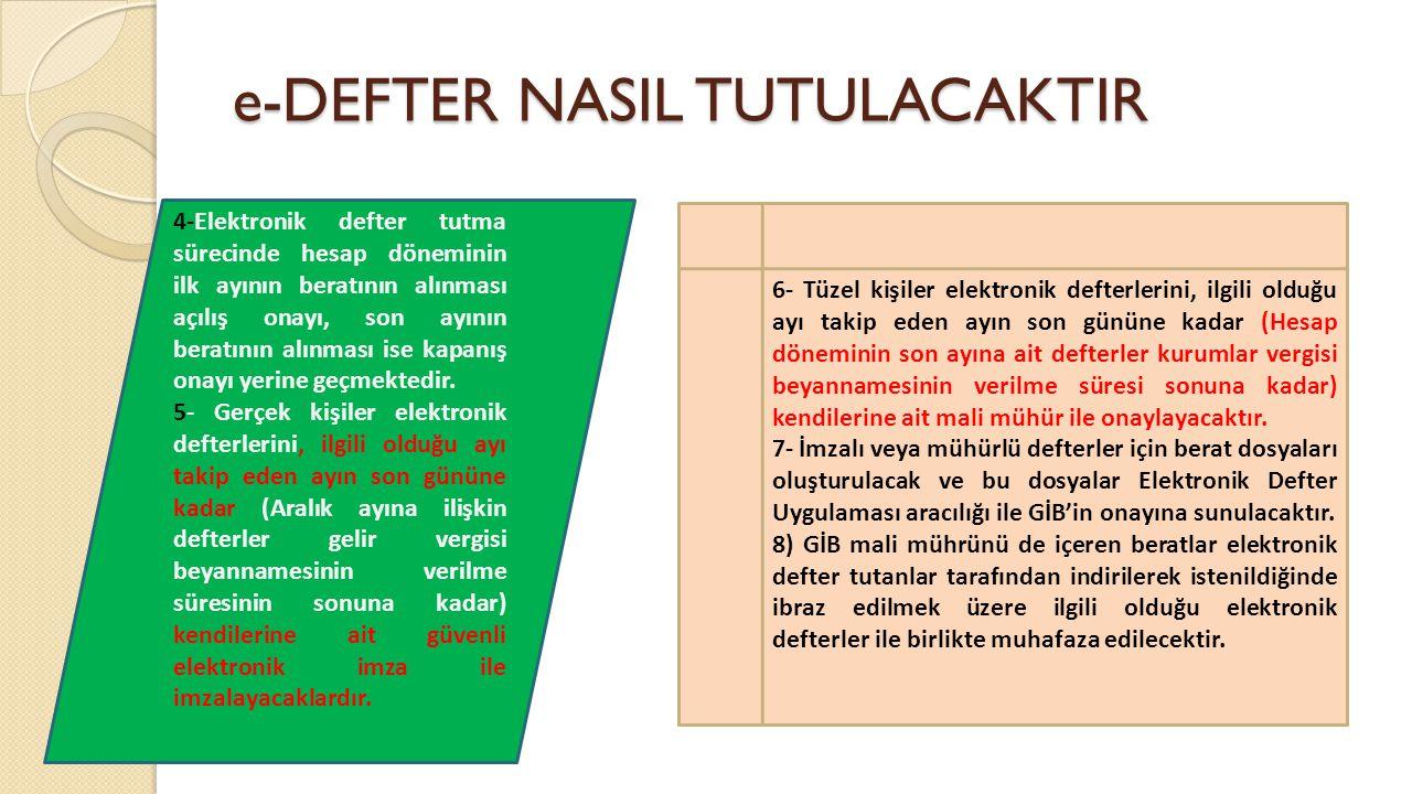 e-DEFTER NASIL TUTULACAKTIR 4-Elektronik defter tutma sürecinde hesap döneminin ilk ayının beratının alınması açılış onayı, son ayının beratının alınm