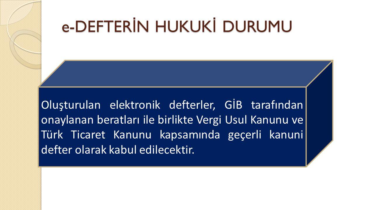 e-DEFTER İ N HUKUK İ DURUMU Oluşturulan elektronik defterler, GİB tarafından onaylanan beratları ile birlikte Vergi Usul Kanunu ve Türk Ticaret Kanunu