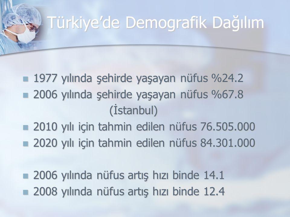 Türkiye'de Demografik Dağılım 1977 yılında şehirde yaşayan nüfus %24.2 1977 yılında şehirde yaşayan nüfus %24.2 2006 yılında şehirde yaşayan nüfus %67