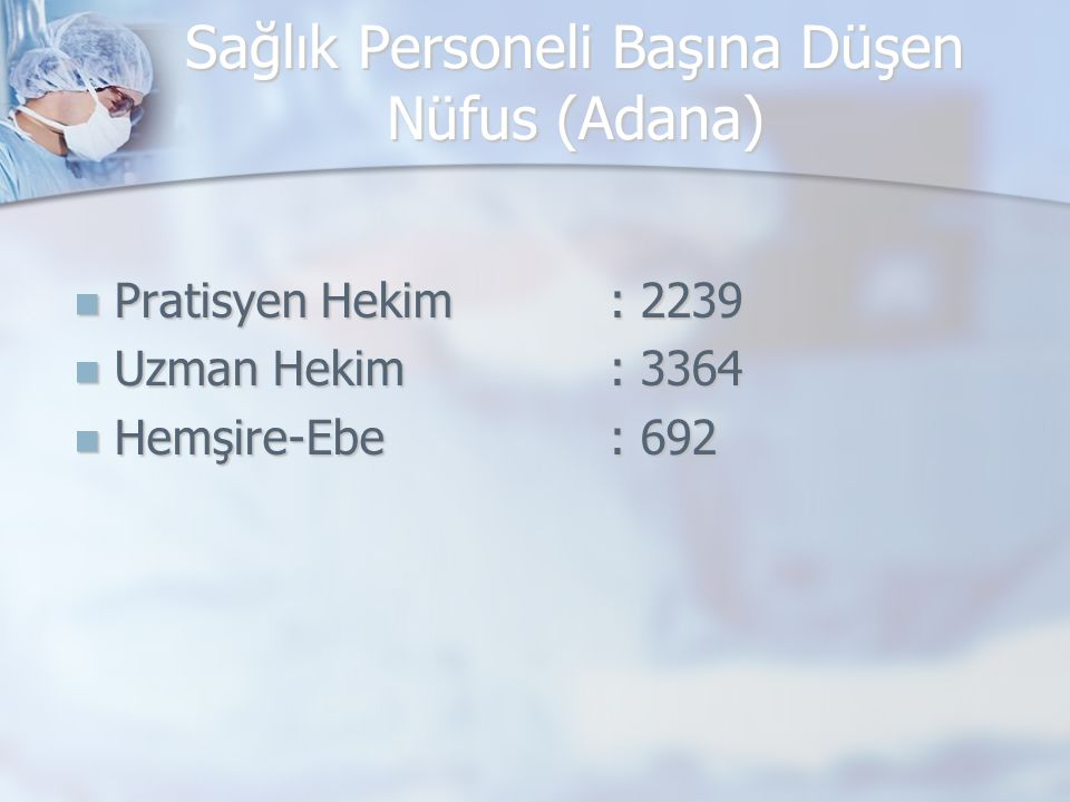 Sağlık Personeli Başına Düşen Nüfus (Adana) Pratisyen Hekim : 2239 Pratisyen Hekim : 2239 Uzman Hekim : 3364 Uzman Hekim : 3364 Hemşire-Ebe : 692 Hemşire-Ebe : 692