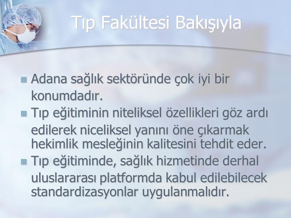 Tıp Fakültesi Bakışıyla Adana sağlık sektöründe çok iyi bir Adana sağlık sektöründe çok iyi birkonumdadır. Tıp eğitiminin niteliksel özellikleri göz a