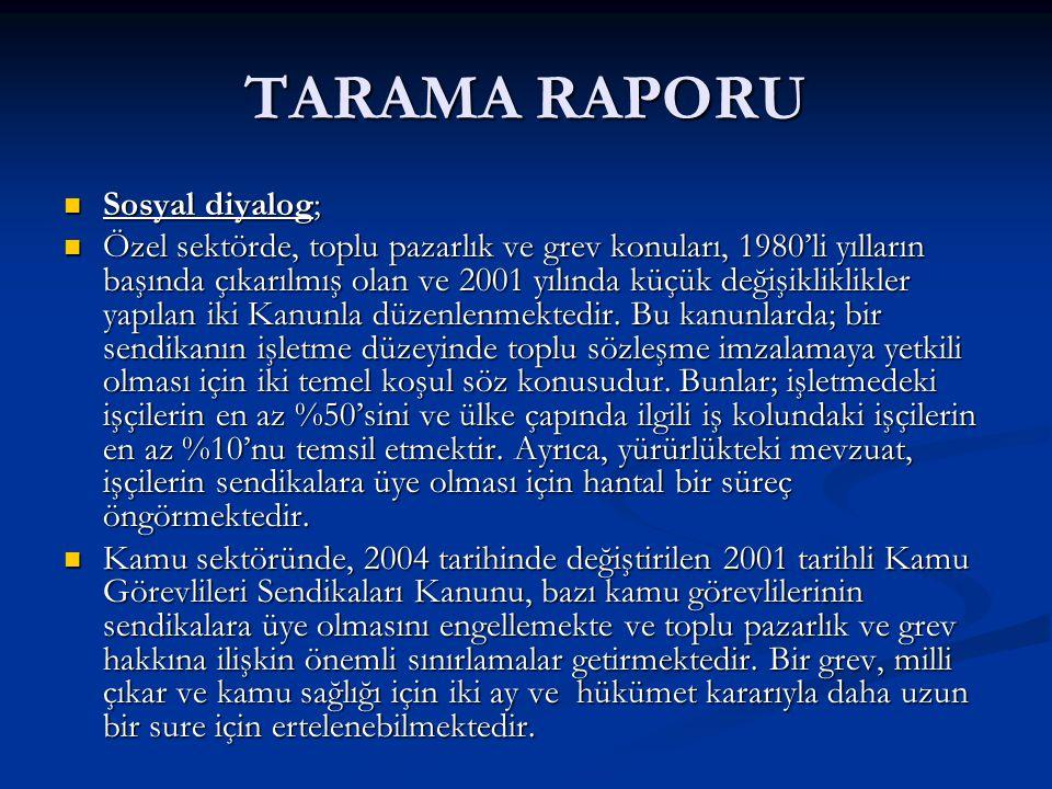TARAMA RAPORU Sosyal diyalog; Sosyal diyalog; Özel sektörde, toplu pazarlık ve grev konuları, 1980'li yılların başında çıkarılmış olan ve 2001 yılında küçük değişikliklikler yapılan iki Kanunla düzenlenmektedir.