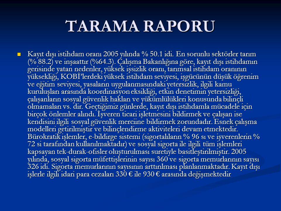 TARAMA RAPORU Kayıt dışı istihdam oranı 2005 yılında % 50.1 idi.