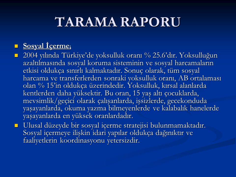 TARAMA RAPORU Sosyal İçerme ; Sosyal İçerme ; 2004 yılında Türkiye'de yoksulluk oranı % 25.6'dır.