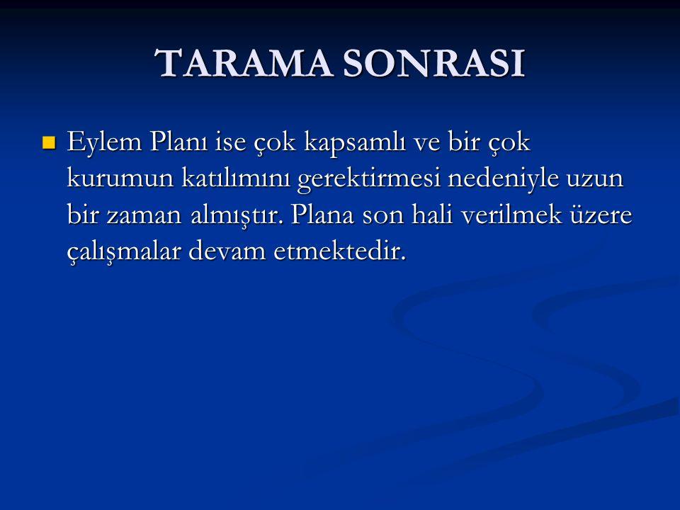 TARAMA SONRASI Eylem Planı ise çok kapsamlı ve bir çok kurumun katılımını gerektirmesi nedeniyle uzun bir zaman almıştır.