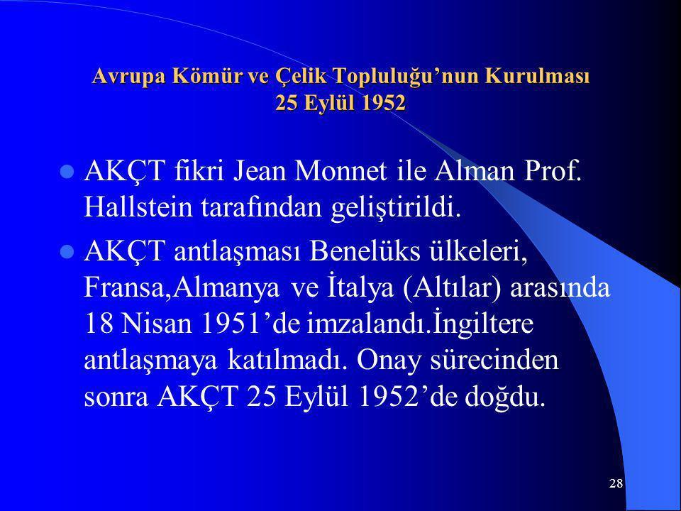 28 Avrupa Kömür ve Çelik Topluluğu'nun Kurulması 25 Eylül 1952 AKÇT fikri Jean Monnet ile Alman Prof. Hallstein tarafından geliştirildi. AKÇT antlaşma