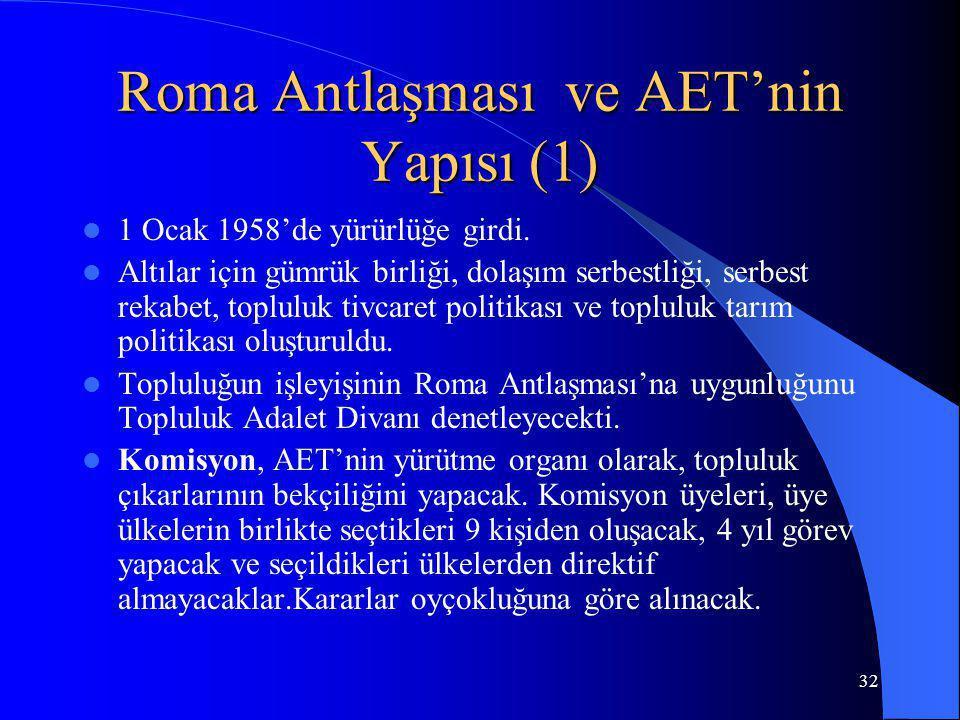 32 Roma Antlaşması ve AET'nin Yapısı (1) 1 Ocak 1958'de yürürlüğe girdi. Altılar için gümrük birliği, dolaşım serbestliği, serbest rekabet, topluluk t