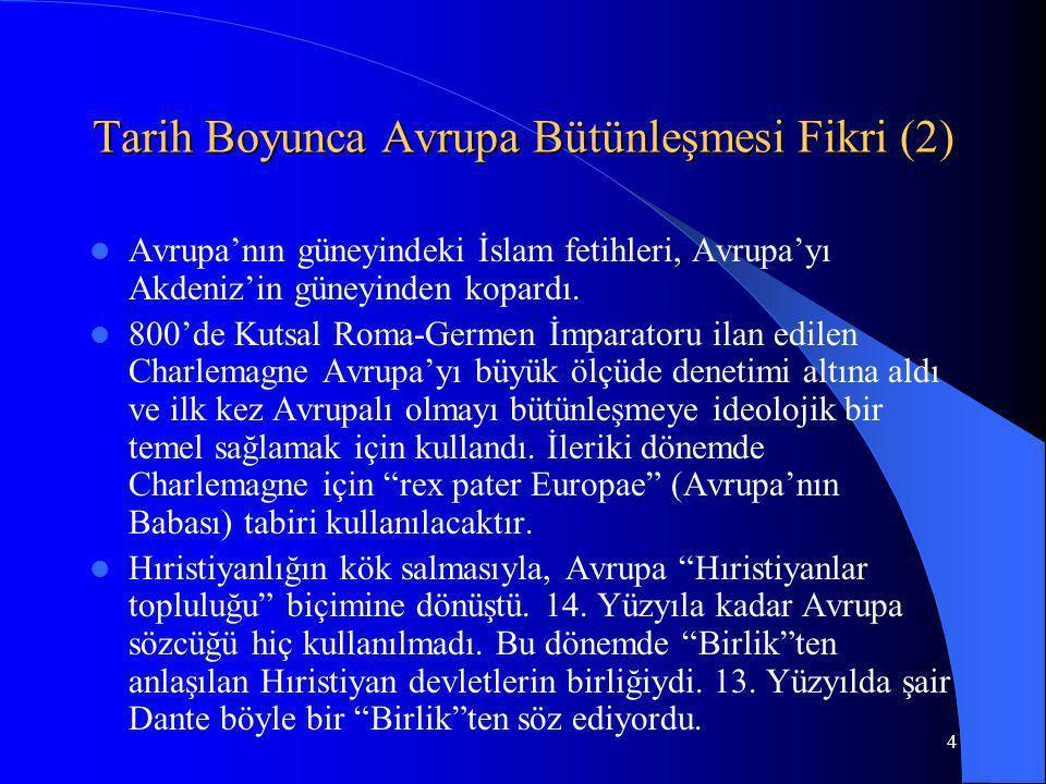 4 Tarih Boyunca Avrupa Bütünleşmesi Fikri (2) Avrupa'nın güneyindeki İslam fetihleri, Avrupa'yı Akdeniz'in güneyinden kopardı. 800'de Kutsal Roma-Germ