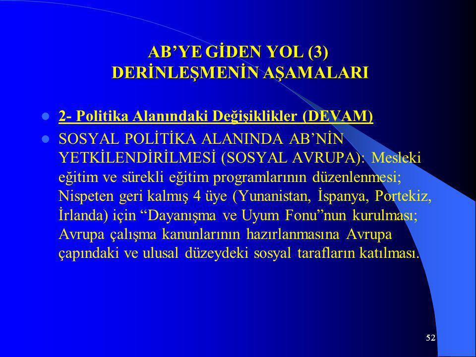 52 AB'YE GİDEN YOL (3) DERİNLEŞMENİN AŞAMALARI 2- Politika Alanındaki Değişiklikler (DEVAM) SOSYAL POLİTİKA ALANINDA AB'NİN YETKİLENDİRİLMESİ (SOSYAL