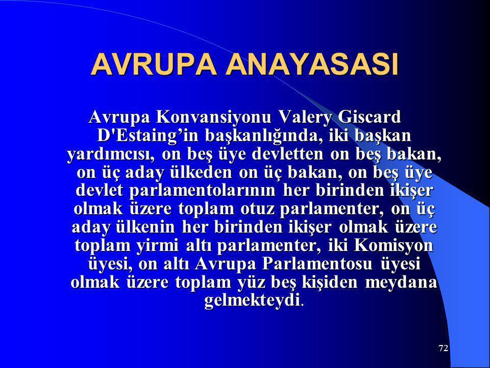 72 AVRUPA ANAYASASI Avrupa Konvansiyonu Valery Giscard D'Estaing'in başkanlığında, iki başkan yardımcısı, on beş üye devletten on beş bakan, on üç ada