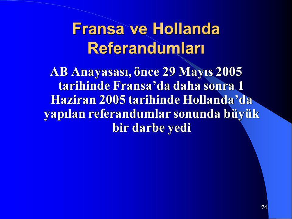 74 Fransa ve Hollanda Referandumları AB Anayasası, önce 29 Mayıs 2005 tarihinde Fransa'da daha sonra 1 Haziran 2005 tarihinde Hollanda'da yapılan refe