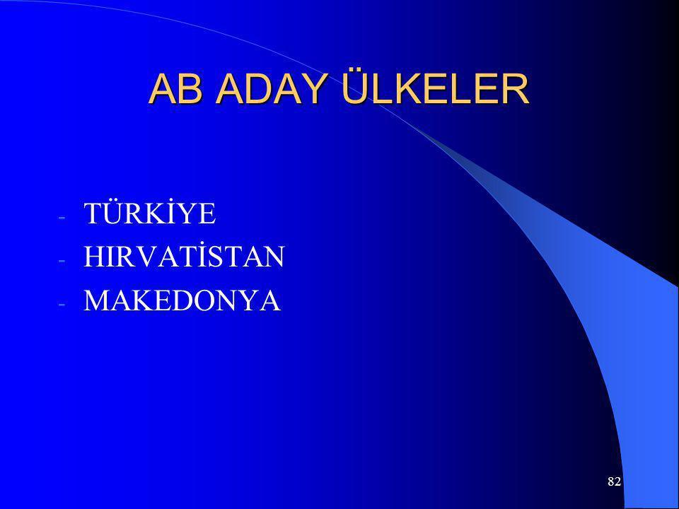 82 AB ADAY ÜLKELER - TÜRKİYE - HIRVATİSTAN - MAKEDONYA