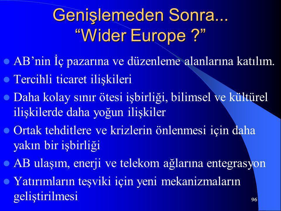 """96 Genişlemeden Sonra... """"Wider Europe ?"""" AB'nin İç pazarına ve düzenleme alanlarına katılım. Tercihli ticaret ilişkileri Daha kolay sınır ötesi işbir"""