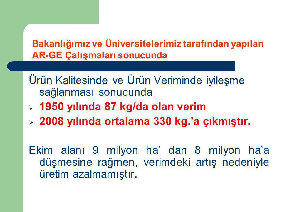 Ürün Kalitesinde ve Ürün Veriminde iyileşme sağlanması sonucunda  1950 yılında 87 kg/da olan verim  2008 yılında ortalama 330 kg.'a çıkmıştır. Ekim