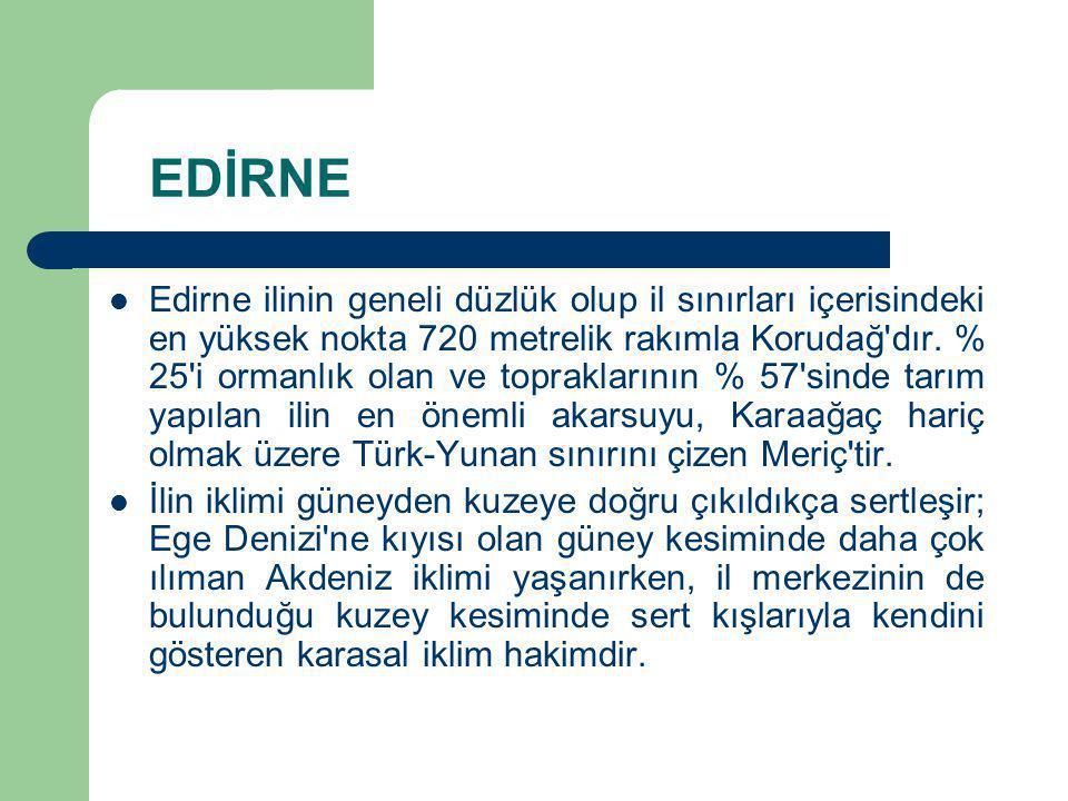 EDİRNE Edirne ilinin geneli düzlük olup il sınırları içerisindeki en yüksek nokta 720 metrelik rakımla Korudağ'dır. % 25'i ormanlık olan ve toprakları