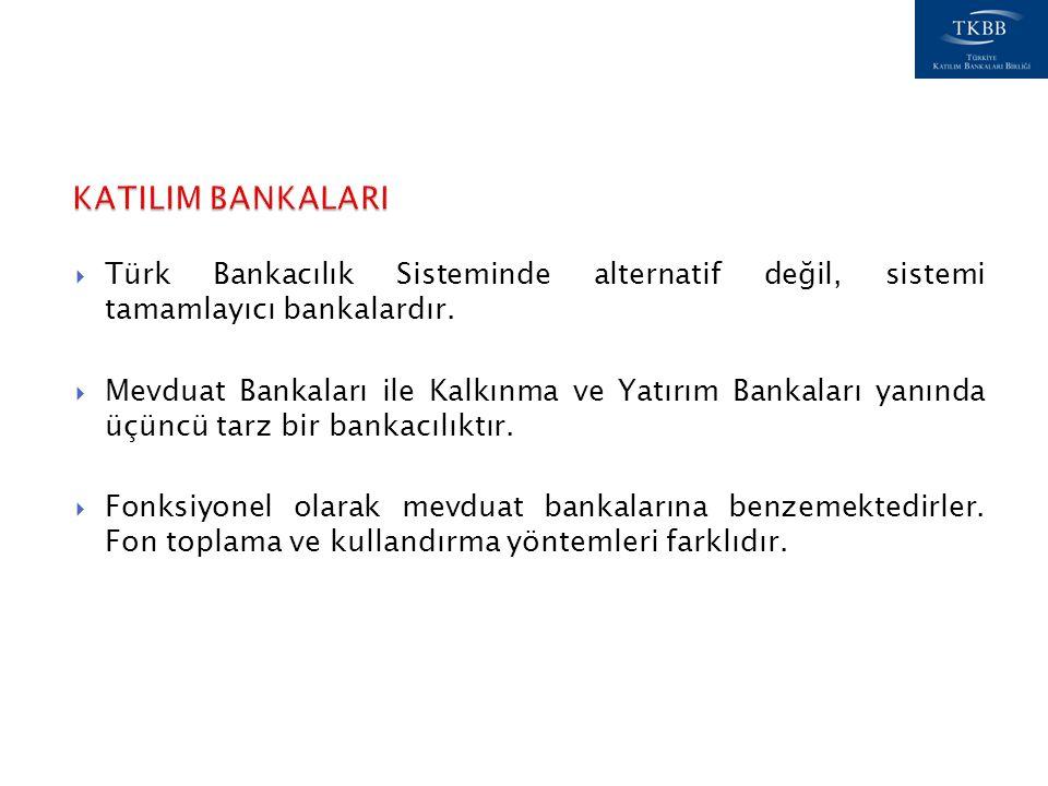  Türk Bankacılık Sisteminde alternatif değil, sistemi tamamlayıcı bankalardır.  Mevduat Bankaları ile Kalkınma ve Yatırım Bankaları yanında üçüncü t