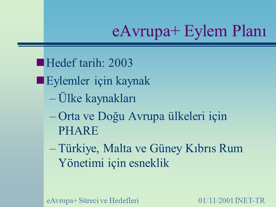 eAvrupa+ Süreci ve Hedefleri01/11/2001 INET-TR eAvrupa+ Eylem Planı Hedef tarih: 2003 Eylemler için kaynak –Ülke kaynakları –Orta ve Doğu Avrupa ülkeleri için PHARE –Türkiye, Malta ve Güney Kıbrıs Rum Yönetimi için esneklik