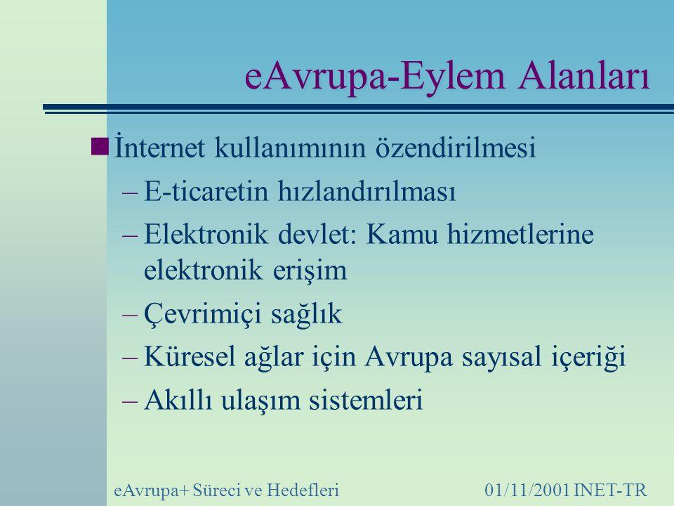 eAvrupa+ Süreci ve Hedefleri01/11/2001 INET-TR eAvrupa-Eylem Alanları İnternet kullanımının özendirilmesi –E-ticaretin hızlandırılması –Elektronik devlet: Kamu hizmetlerine elektronik erişim –Çevrimiçi sağlık –Küresel ağlar için Avrupa sayısal içeriği –Akıllı ulaşım sistemleri