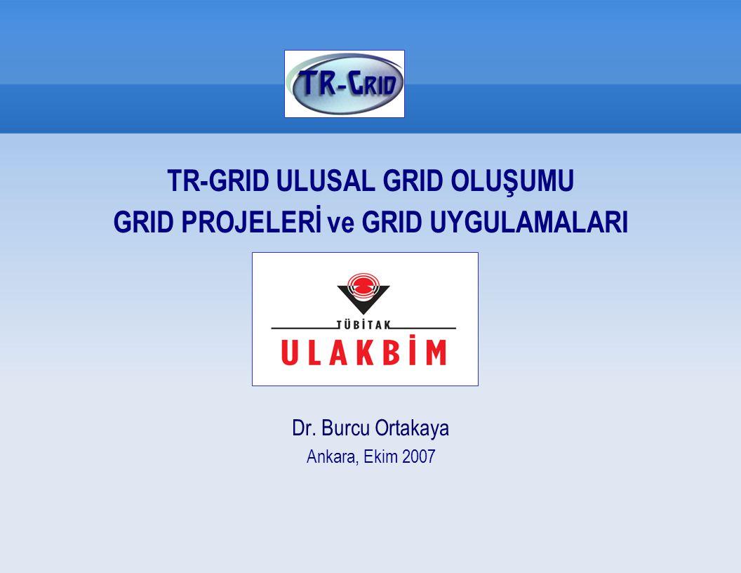 ULUSAL GRID OLUŞUMU TR-GRID Hedefleri Grid çalışmaları ULAKBİM koordinasyonunda hesaplama kaynaklarının grid altyapısı altında toplanması amacı ile 2003 yılında TR-Grid Oluşumu adı altında başlatılmıştır.