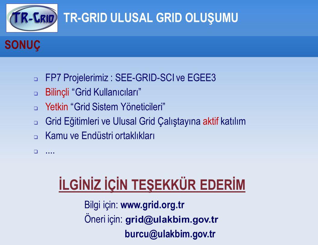 SONUÇ TR-GRID ULUSAL GRID OLUŞUMU  FP7 Projelerimiz : SEE-GRID-SCI ve EGEE3  Bilinçli Grid Kullanıcıları  Yetkin Grid Sistem Yöneticileri  Grid Eğitimleri ve Ulusal Grid Çalıştayına aktif katılım  Kamu ve Endüstri ortaklıkları ....