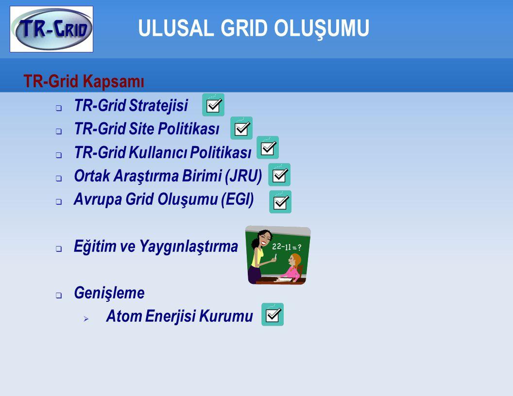 ULUSAL GRID OLUŞUMU TR-Grid Kapsamı  TR-Grid Stratejisi  TR-Grid Site Politikası  TR-Grid Kullanıcı Politikası  Ortak Araştırma Birimi (JRU)  Avrupa Grid Oluşumu (EGI)  Eğitim ve Yaygınlaştırma  Genişleme  Atom Enerjisi Kurumu