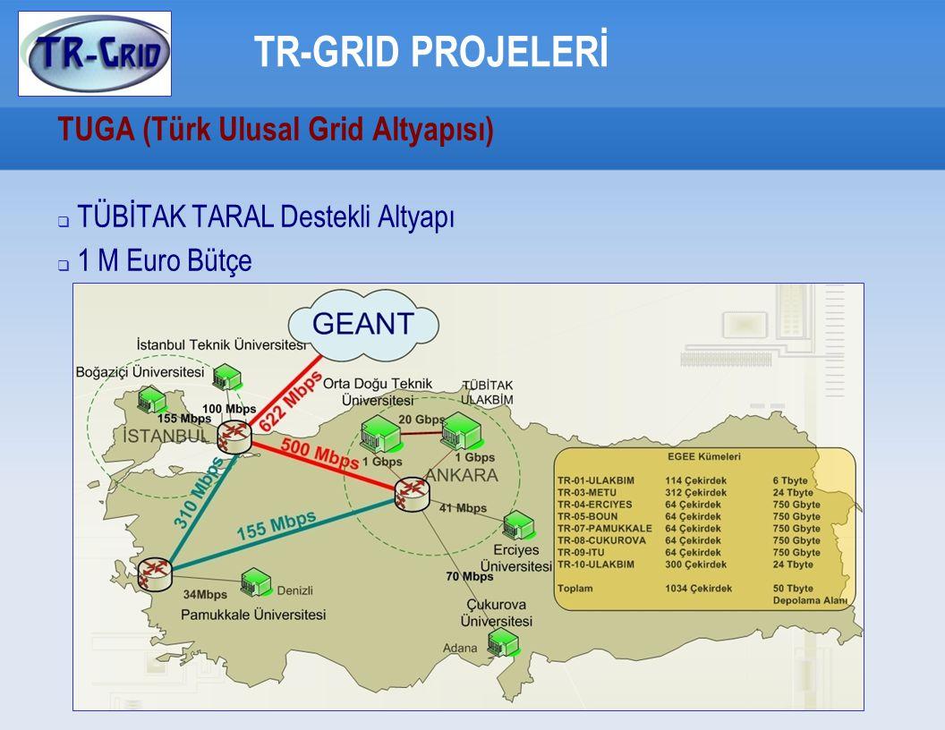 TR-GRID PROJELERİ SEE-GRID (2004 - 2006) (S outh E astern E uropean GR id-enabled e I nfrastructure D evelopment)  TR-Grid test yatağının kurulması  Grid servislerinin ulusal ve bölgesel işletimi  Ulusal Grid Sertifika Otoritesinin akredite olması  Güney Doğu Avrupa Bölgesi için Grid Olanaklı Arama Motorunun geliştirilmesi – SE4SEE (Bilkent Üniversitesi)  Bütçe: 127 K Euro (%80 AB desteği)
