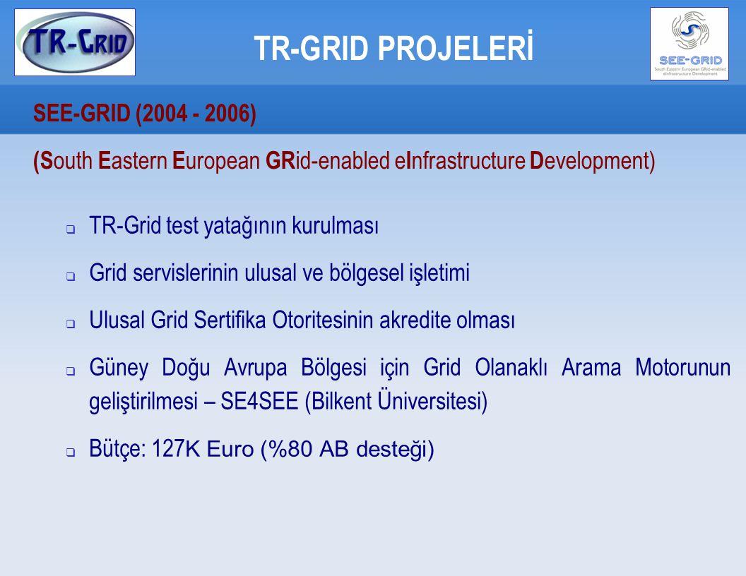 TR-GRID PROJELERİ SEE-GRID2 (2006-2008) (S outh E astern E uropean GR id-enabled e I nfrastructure D evelopment) Ana Yükleniciler:  GRNET, Yunanistan  CERN, İsviçre  MTA SZTAKI, Macaristan  IPP-BAS, Bulgaristan  ICI, Romanya  TÜBİTAK, Türkiye  ASA/INIMA, Arnavutluk  UoBL, Bosna Hersek  UKIM, Makedonya  UOB, Sırbistan  UoM Karadağ  RENEM Moldovya  RBI, Hırvatistan Alt Yükleniciler:  27 üniversite / araştırma merkezi