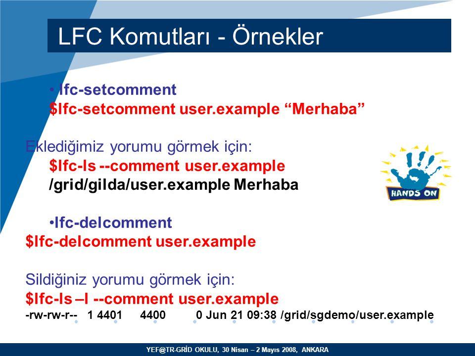 YEF@TR-GRİD OKULU, 30 Nisan – 2 Mayıs 2008, ANKARA lfc-setcomment $lfc-setcomment user.example Merhaba Eklediğimiz yorumu görmek için: $lfc-ls --comment user.example /grid/gilda/user.example Merhaba lfc-delcomment $lfc-delcomment user.example Sildiğiniz yorumu görmek için: $lfc-ls –l --comment user.example -rw-rw-r-- 1 4401 4400 0 Jun 21 09:38 /grid/sgdemo/user.example LFC Komutları - Örnekler