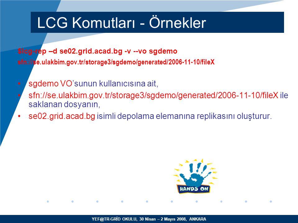 YEF@TR-GRİD OKULU, 30 Nisan – 2 Mayıs 2008, ANKARA $lcg-rep –d se02.grid.acad.bg -v --vo sgdemo sfn://se.ulakbim.gov.tr/storage3/sgdemo/generated/2006-11-10/fileX sgdemo VO'sunun kullanıcısına ait, sfn://se.ulakbim.gov.tr/storage3/sgdemo/generated/2006-11-10/fileX ile saklanan dosyanın, se02.grid.acad.bg isimli depolama elemanına replikasını oluşturur.
