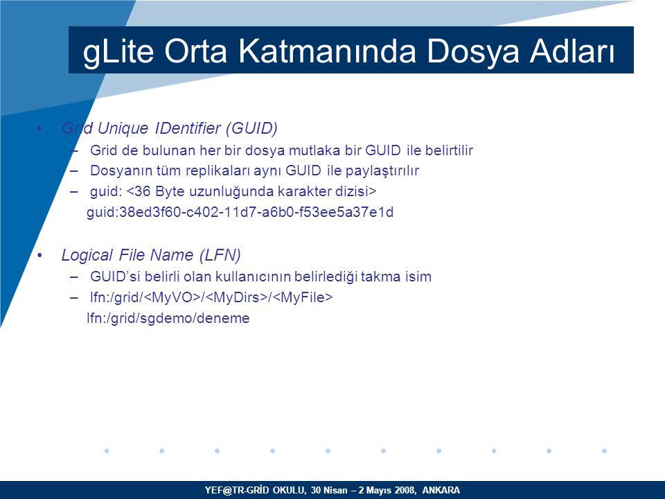 YEF@TR-GRİD OKULU, 30 Nisan – 2 Mayıs 2008, ANKARA Grid Unique IDentifier (GUID) –Grid de bulunan her bir dosya mutlaka bir GUID ile belirtilir –Dosyanın tüm replikaları aynı GUID ile paylaştırılır –guid: guid:38ed3f60-c402-11d7-a6b0-f53ee5a37e1d Logical File Name (LFN) –GUID'si belirli olan kullanıcının belirlediği takma isim –lfn:/grid/ / / lfn:/grid/sgdemo/deneme gLite Orta Katmanında Dosya Adları