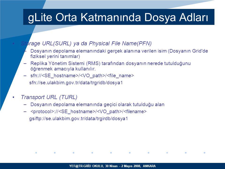 YEF@TR-GRİD OKULU, 30 Nisan – 2 Mayıs 2008, ANKARA LFC –Grid servisi –GUID, LFN ve SURL'ler arasında eşleştirmeyi sağlar –Kayıt yaptırmış tüm dosyaların bilgisini tutar ve yayınlar –Yerel ya da genel olarak servis verebilir Grid Dosyası: Fiziksel olarak depolama elemanında yer alan, ve mantıksal olarak LFC kaydı yapılmış dosyalardır.