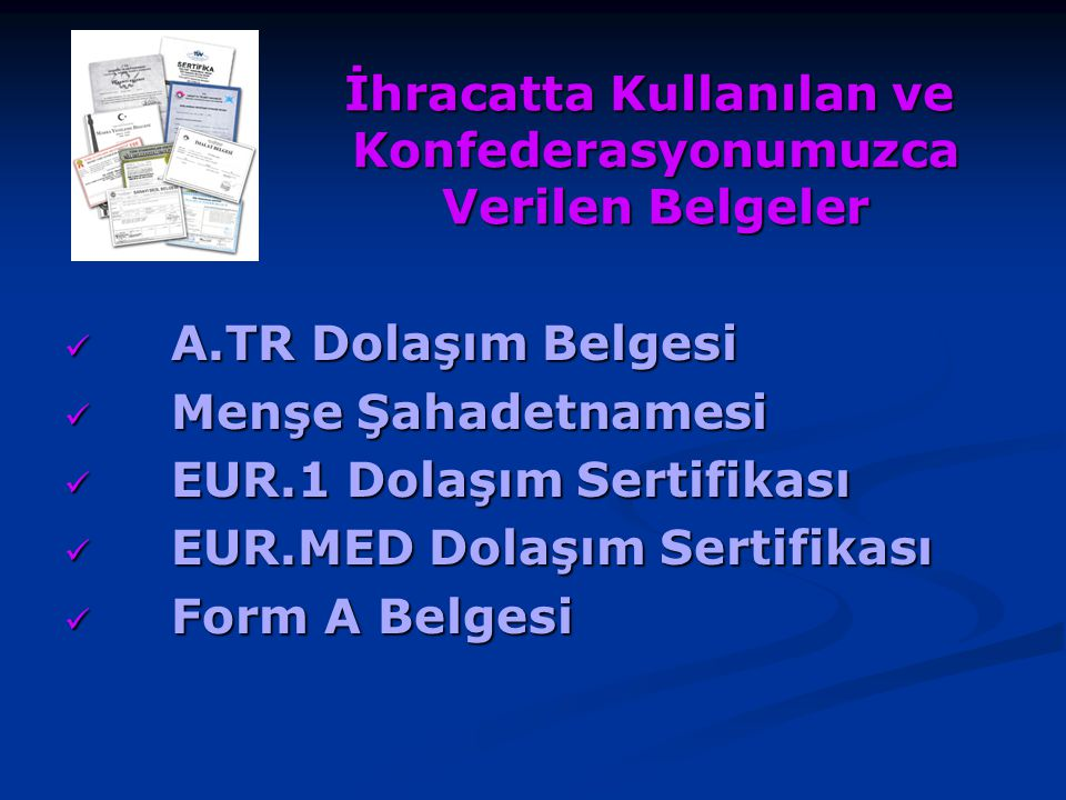 A.TR Dolaşım Belgesi 2006/10895 sayılı Bakanlar Kurulu Kararına dayanılarak Gümrük Müsteşarlığı tarafından hazırlanan A.TR Dolaşım Belgelerine ilişkin 70 Seri No'lu Gümrük Genel Tebliği 03/05/2009 tarihli, 27217 sayılı Resmi Gazetede ve bu Tebliğde değişiklik yapan 72 Seri No'lu Gümrük Genel Tebliği 11/06/2009 tarih, 27255 sayılı Resmi Gazetede yayımlanarak yürürlüğe girmiştir.
