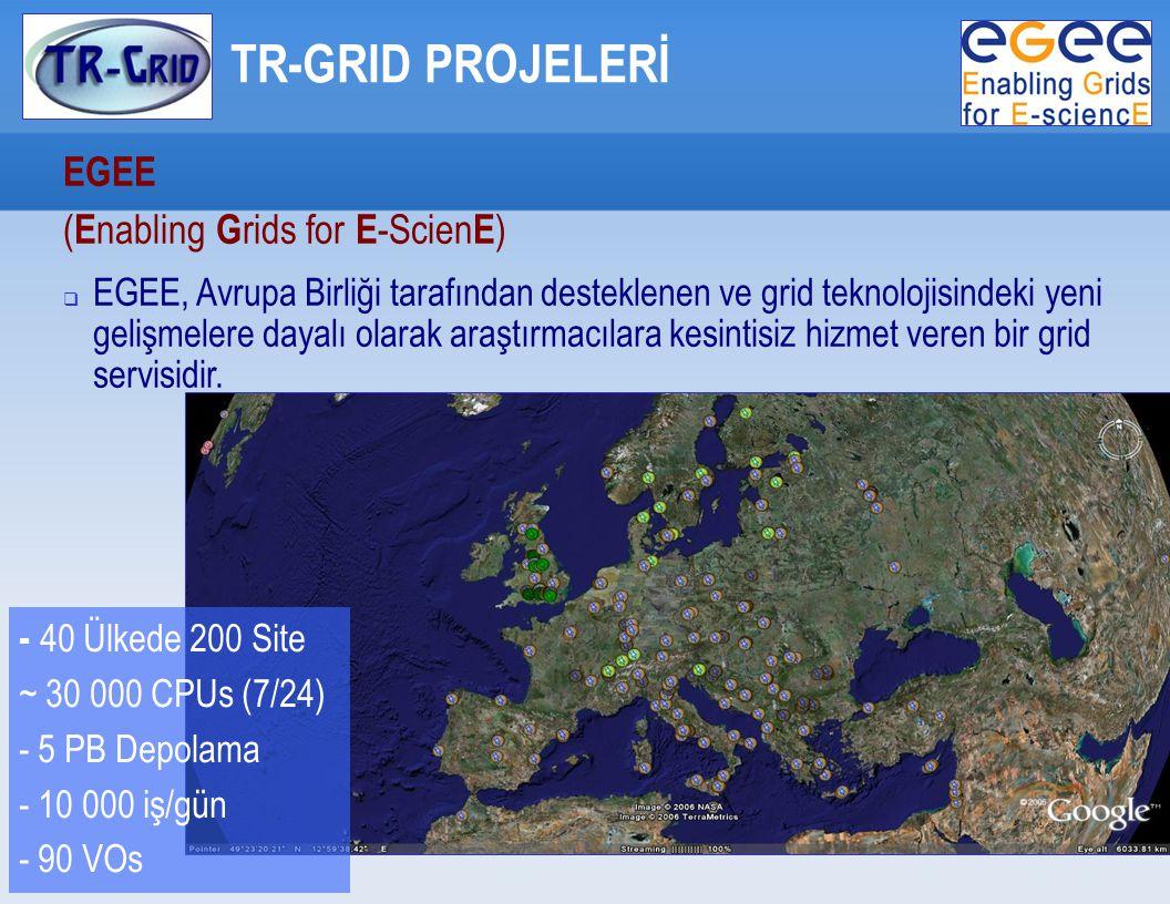 TR-GRID PROJELERİ EGEE ( E nabling G rids for E -Scien E )   EGEE, Avrupa Birliği tarafından desteklenen ve grid teknolojisindeki yeni gelişmelere dayalı olarak araştırmacılara kesintisiz hizmet veren bir grid servisidir.