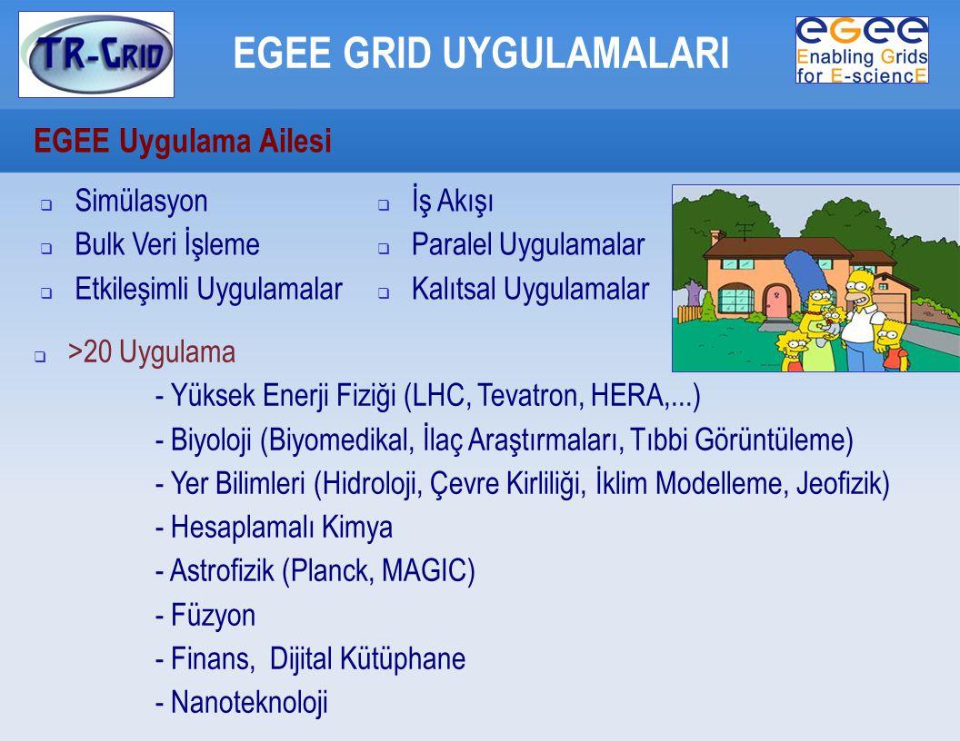 EGEE Uygulama Ailesi EGEE GRID UYGULAMALARI  Simülasyon  Bulk Veri İşleme  Etkileşimli Uygulamalar  >20 Uygulama - Yüksek Enerji Fiziği (LHC, Tevatron, HERA,...)  - Biyoloji (Biyomedikal, İlaç Araştırmaları, Tıbbi Görüntüleme)  - Yer Bilimleri (Hidroloji, Çevre Kirliliği, İklim Modelleme, Jeofizik)  - Hesaplamalı Kimya - Astrofizik (Planck, MAGIC)  - Füzyon - Finans, Dijital Kütüphane - Nanoteknoloji  İş Akışı  Paralel Uygulamalar  Kalıtsal Uygulamalar