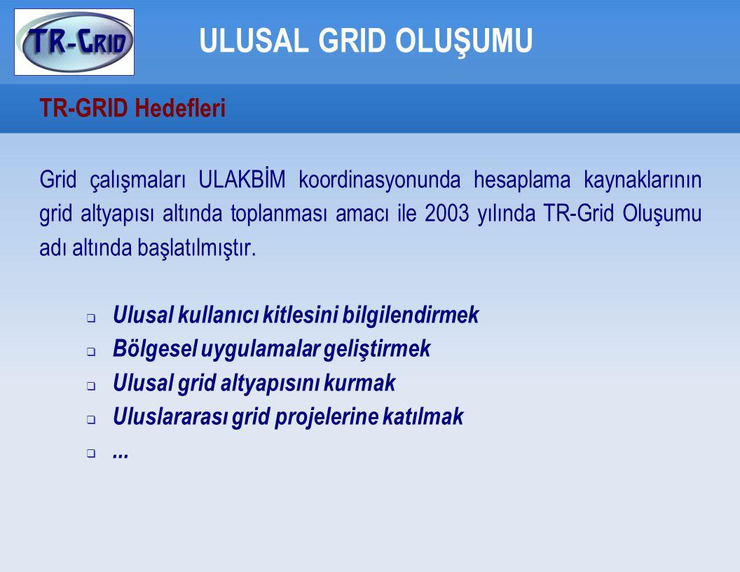 TR-Grid UGO Destekli Grid Uygulamaları GRID UYGULAMALARI  Ulusal Destekli Uygulamalar - Eğitim Ontolojisi (AGMLAB, Güven Fidan)   AB Destekli Uygulamalar - SE4SEE (BÜ, Prof.