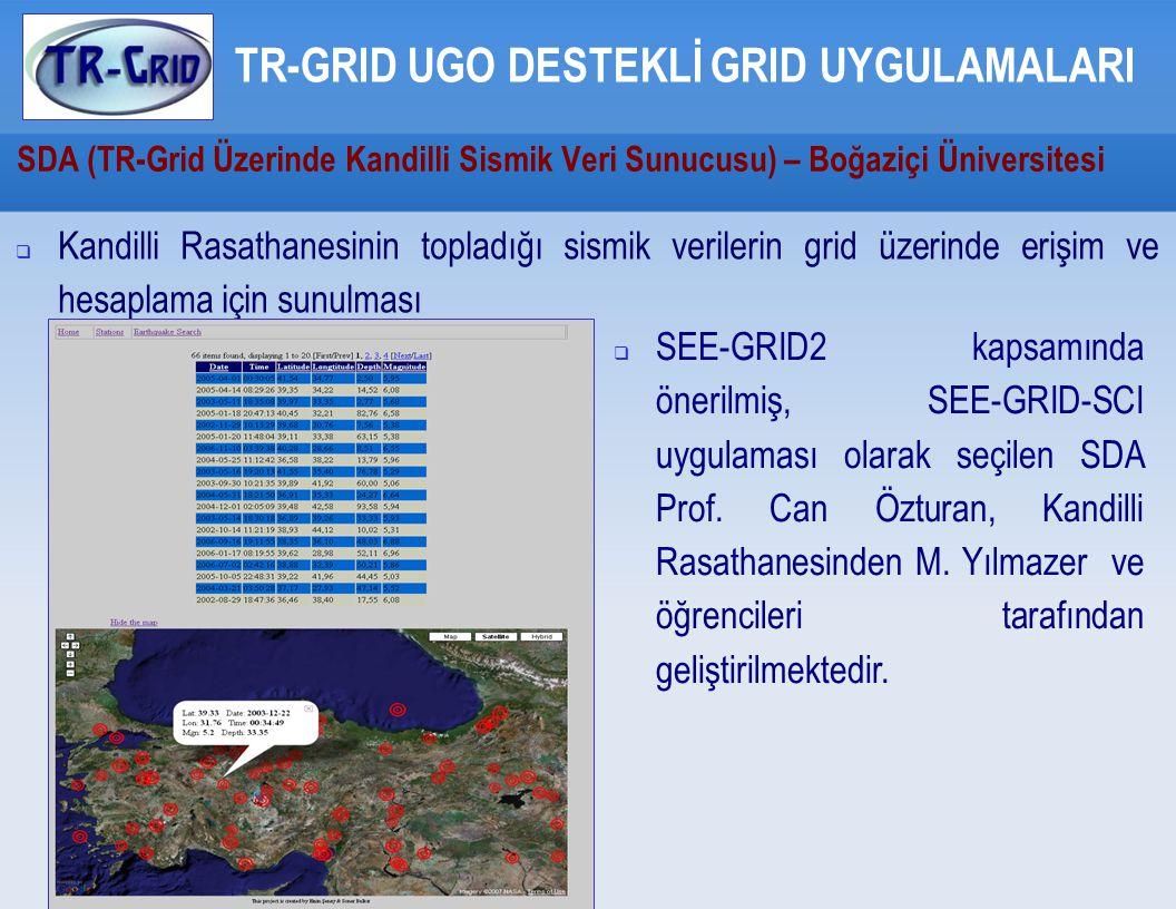 SDA (TR-Grid Üzerinde Kandilli Sismik Veri Sunucusu) – Boğaziçi Üniversitesi TR-GRID UGO DESTEKLİ GRID UYGULAMALARI  Kandilli Rasathanesinin topladığı sismik verilerin grid üzerinde erişim ve hesaplama için sunulması  SEE-GRID2 kapsamında önerilmiş, SEE-GRID-SCI uygulaması olarak seçilen SDA Prof.