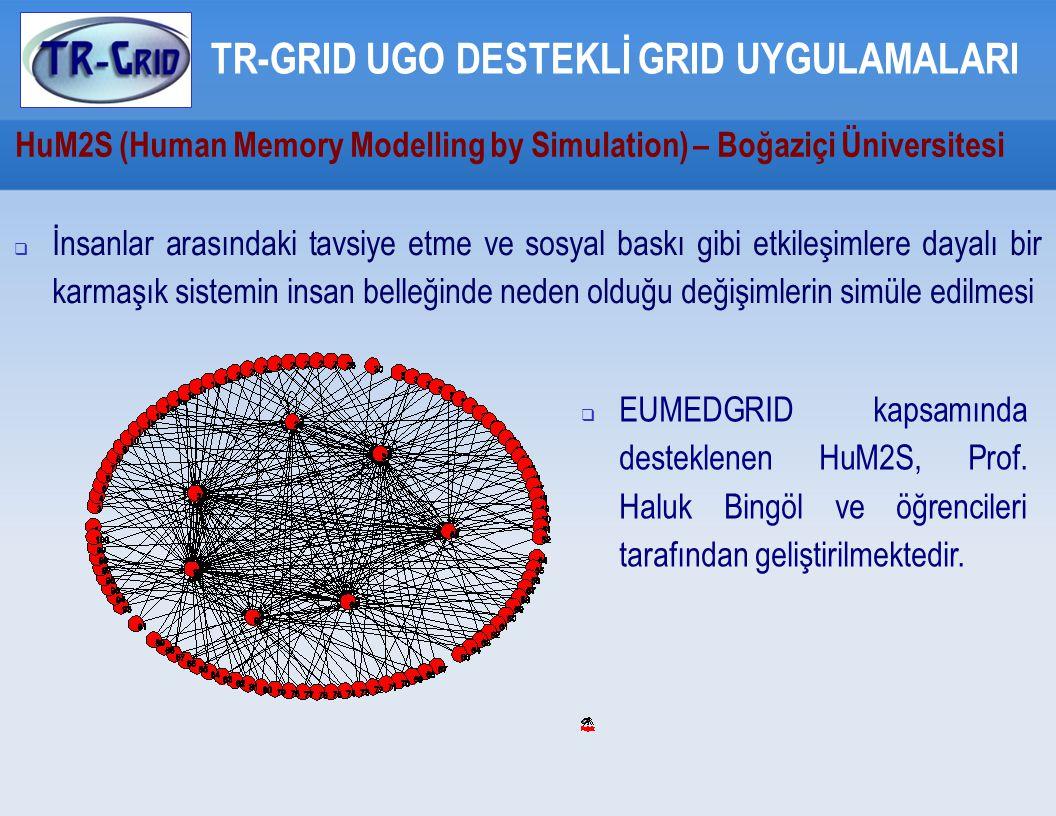 HuM2S (Human Memory Modelling by Simulation) – Boğaziçi Üniversitesi TR-GRID UGO DESTEKLİ GRID UYGULAMALARI  İnsanlar arasındaki tavsiye etme ve sosyal baskı gibi etkileşimlere dayalı bir karmaşık sistemin insan belleğinde neden olduğu değişimlerin simüle edilmesi  EUMEDGRID kapsamında desteklenen HuM2S, Prof.