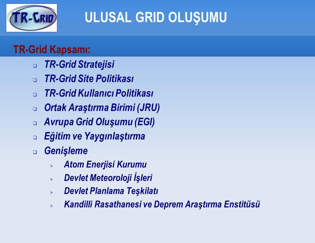ULUSAL GRID OLUŞUMU TR-Grid Kapsamı:  TR-Grid Stratejisi  TR-Grid Site Politikası  TR-Grid Kullanıcı Politikası  Ortak Araştırma Birimi (JRU)   Avrupa Grid Oluşumu (EGI)   Eğitim ve Yaygınlaştırma  Genişleme  Atom Enerjisi Kurumu  Devlet Meteoroloji İşleri  Devlet Planlama Teşkilatı  Kandilli Rasathanesi ve Deprem Araştırma Enstitüsü