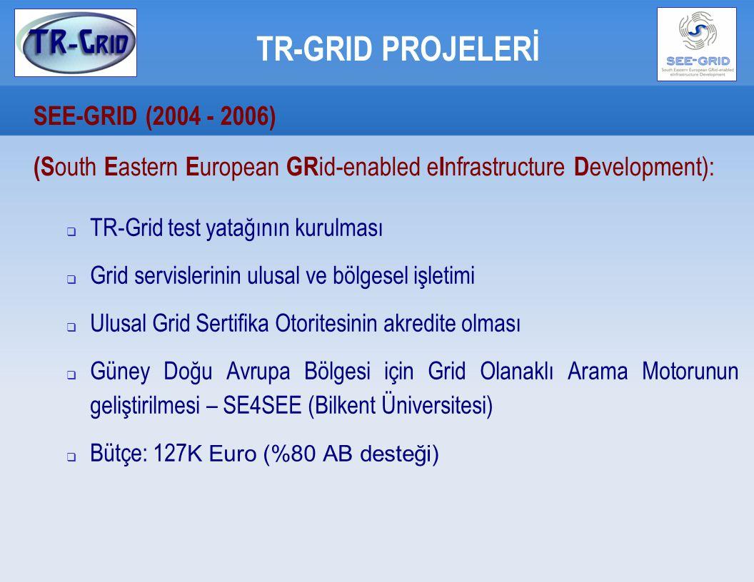 TR-GRID PROJELERİ SEE-GRID2 (2006-2008)  (S outh E astern E uropean GR id-enabled e I nfrastructure D evelopment): Ana Yükleniciler:  GRNET, Yunanistan  CERN, İsviçre  MTA SZTAKI, Macaristan  IPP-BAS, Bulgaristan  ICI, Romanya  TÜBİTAK, Türkiye  ASA/INIMA, Arnavutluk  UoBL, Bosna Hersek  UKIM, Makedonya  UOB, Sırbistan  UoM Karadağ  RENEM Moldovya  RBI, Hırvatistan Alt Yükleniciler:  27 üniversite / araştırma merkezi