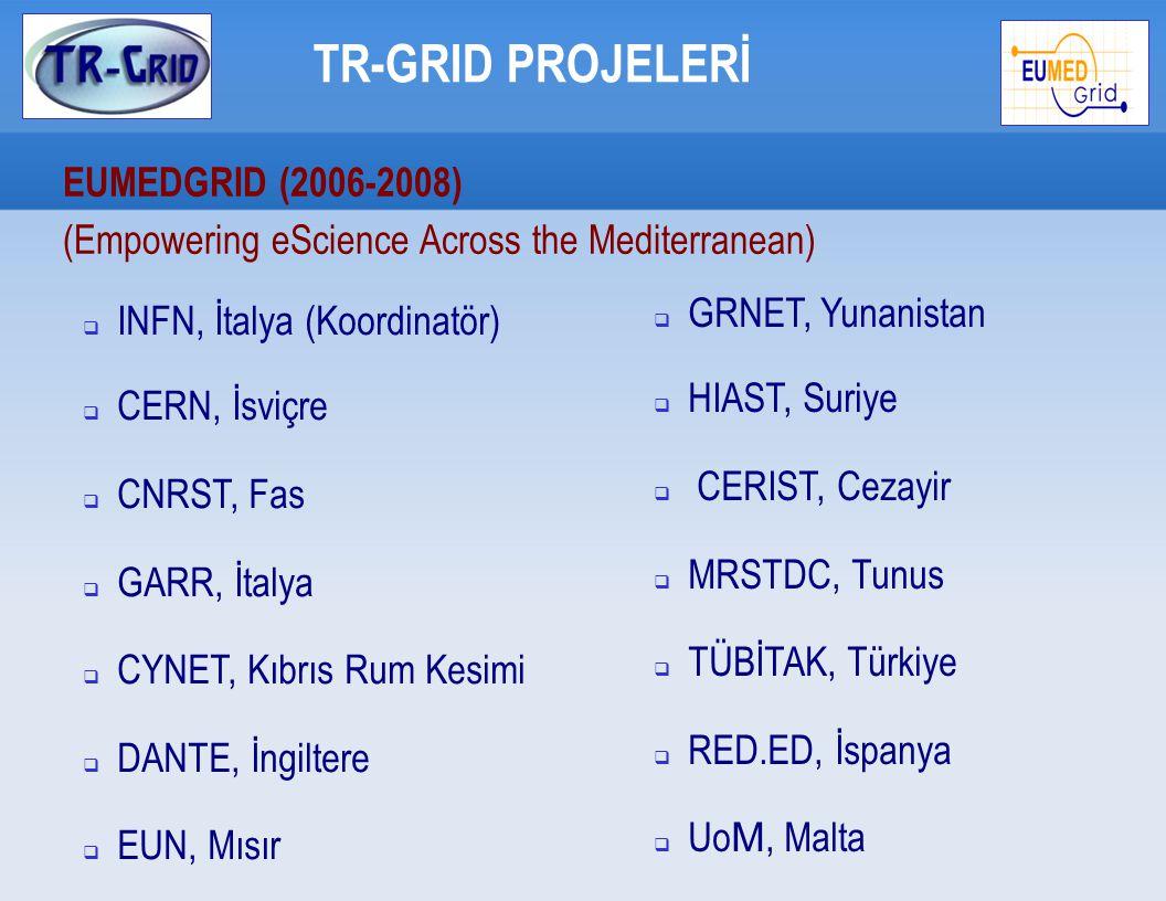 TR-GRID PROJELERİ EUMEDGRID (2006-2008)   EUMEDGRID altyapısına katılım  Grid servislerinin kurulumu ve bölgesel  Bölgesel grid uygulaması geliştirmek - HuM2S (Boğaziçi Üniversitesi)   SEE-Grid ve EGEE de edinilen tecrübeyi Akdeniz Bölgesine taşımak  Bütçe: 74K Euro (%90 AB desteği) 