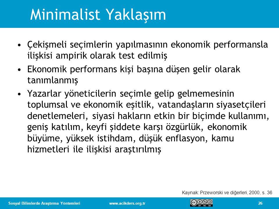 26Sosyal Bilimlerde Araştırma Yöntemleriwww.acikders.org.tr Minimalist Yaklaşım Çekişmeli seçimlerin yapılmasının ekonomik performansla ilişkisi ampir
