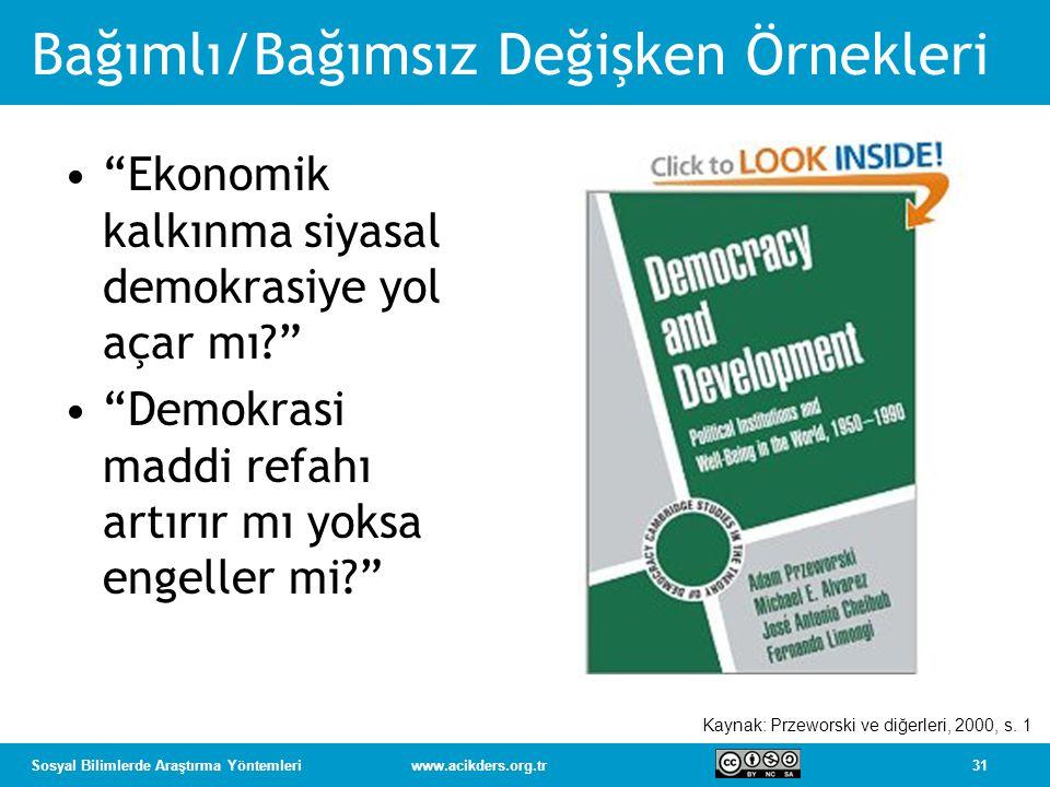"""31Sosyal Bilimlerde Araştırma Yöntemleriwww.acikders.org.tr Bağımlı/Bağımsız Değişken Örnekleri """"Ekonomik kalkınma siyasal demokrasiye yol açar mı?"""" """""""