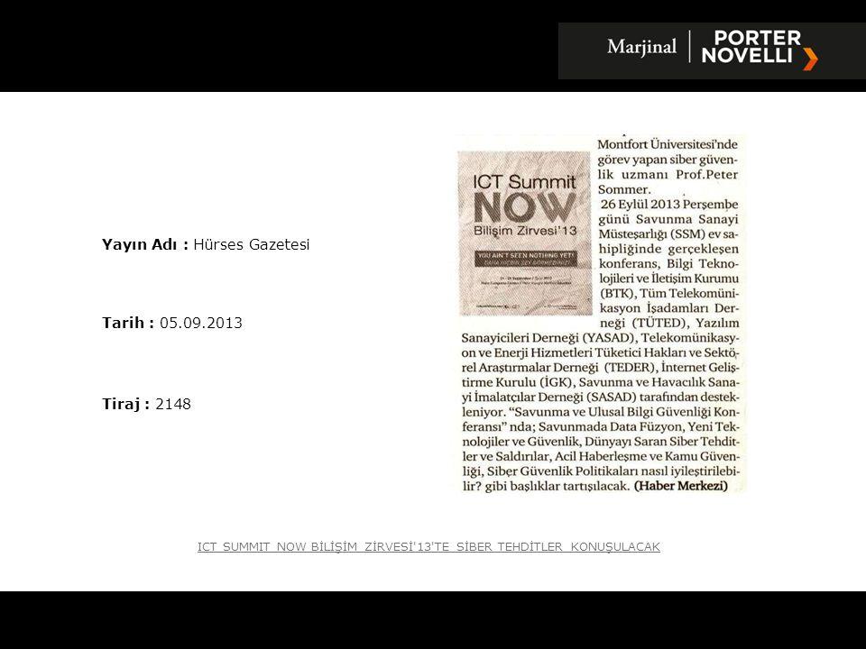 Yayın Adı : Hürses Gazetesi Tarih : 05.09.2013 Tiraj : 2148 ICT SUMMIT NOW BİLİŞİM ZİRVESİ'13'TE SİBER TEHDİTLER KONUŞULACAK