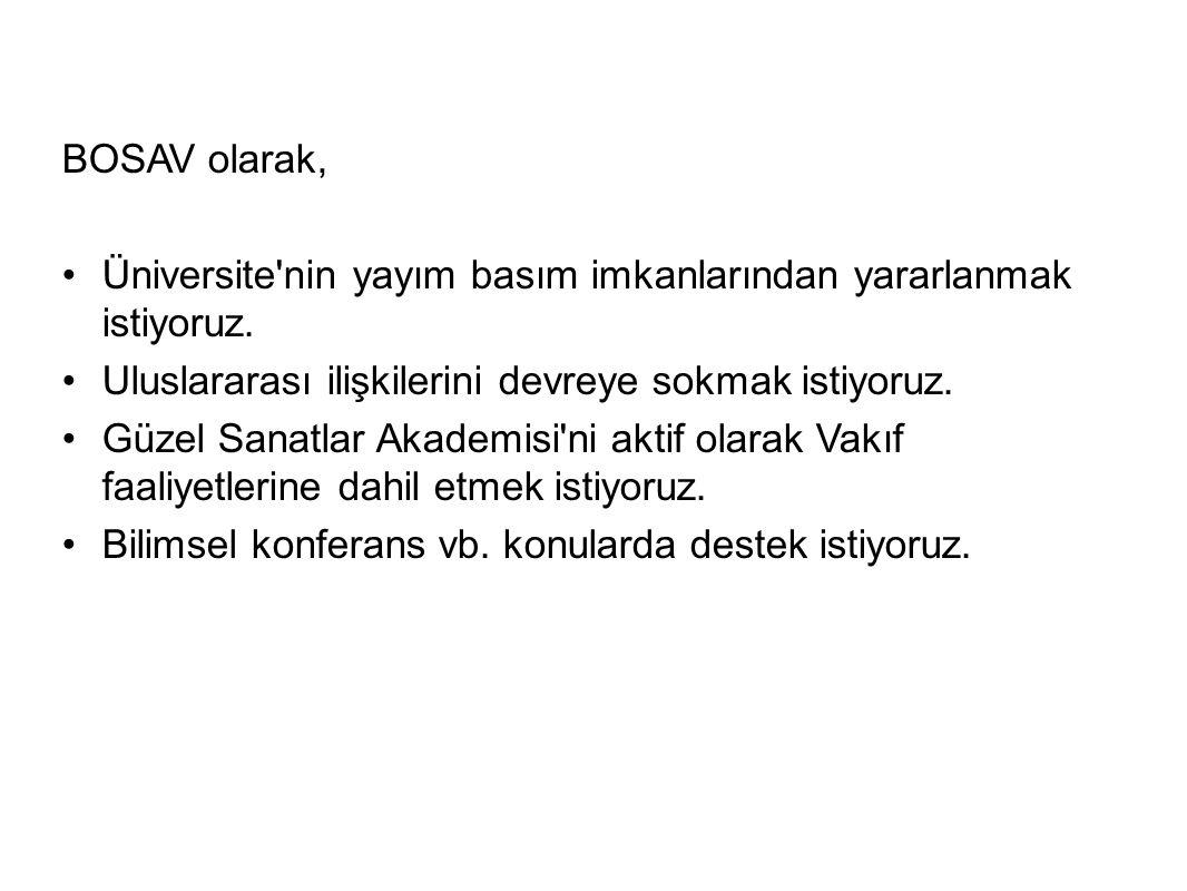 BOSAV olarak, Üniversite nin yayım basım imkanlarından yararlanmak istiyoruz.
