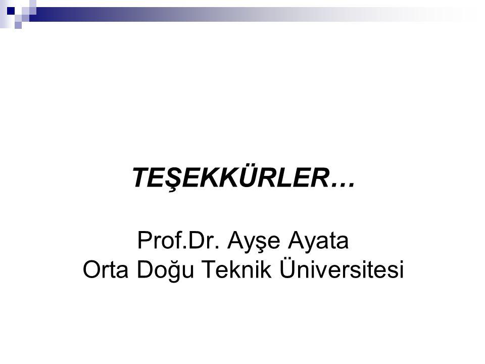 TEŞEKKÜRLER… Prof.Dr. Ayşe Ayata Orta Doğu Teknik Üniversitesi