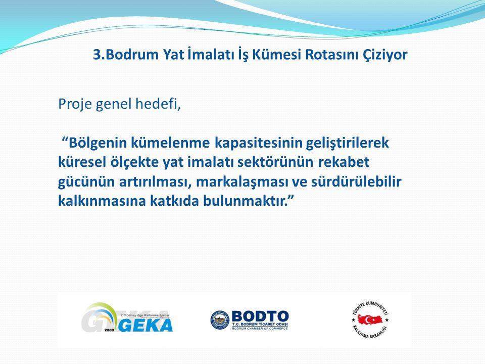 Proje genel hedefi, Bölgenin kümelenme kapasitesinin geliştirilerek küresel ölçekte yat imalatı sektörünün rekabet gücünün artırılması, markalaşması ve sürdürülebilir kalkınmasına katkıda bulunmaktır. 3.Bodrum Yat İmalatı İş Kümesi Rotasını Çiziyor