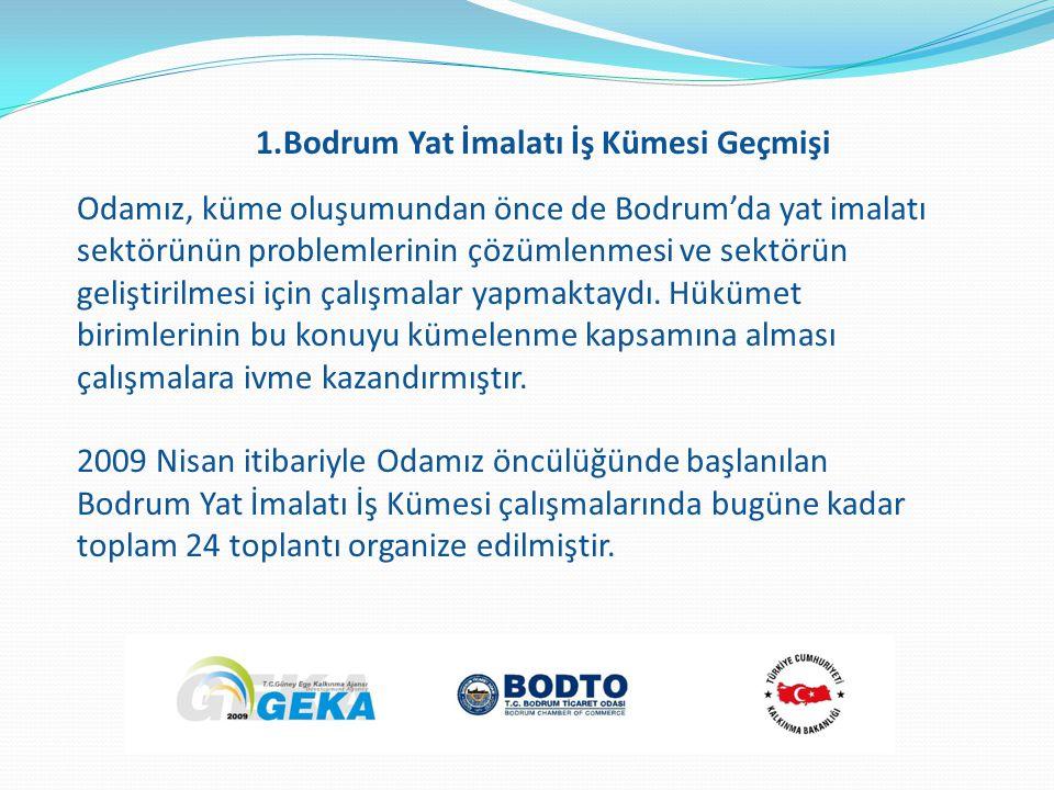 Odamız, küme oluşumundan önce de Bodrum'da yat imalatı sektörünün problemlerinin çözümlenmesi ve sektörün geliştirilmesi için çalışmalar yapmaktaydı.