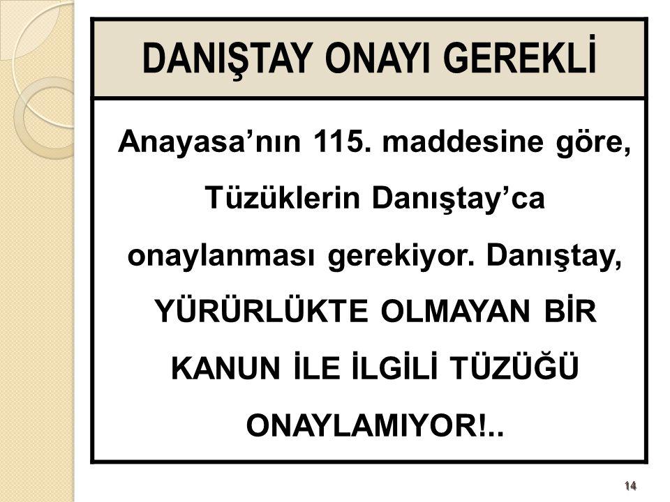 1414 DANIŞTAY ONAYI GEREKLİ Anayasa'nın 115.