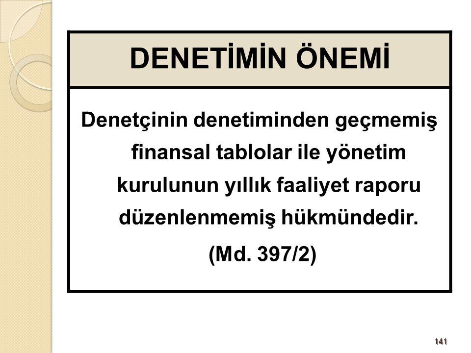 141141 DENETİMİN ÖNEMİ Denetçinin denetiminden geçmemiş finansal tablolar ile yönetim kurulunun yıllık faaliyet raporu düzenlenmemiş hükmündedir. (Md.